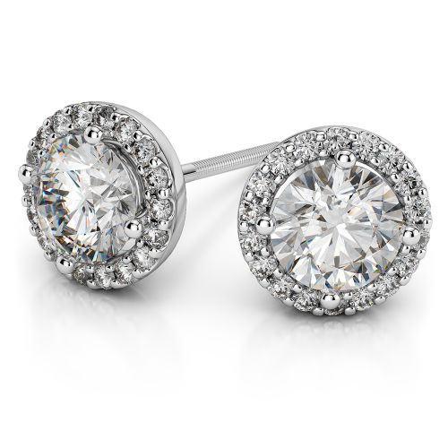 Halo Diamond Earrings in Platinum (1 ctw) | Image 01