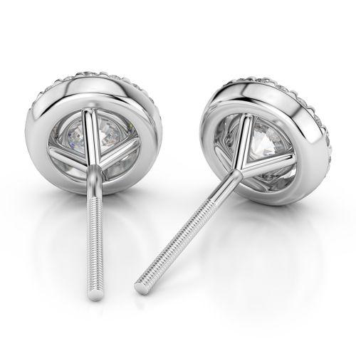 Halo Diamond Earrings in Platinum (1 ctw) | Image 02