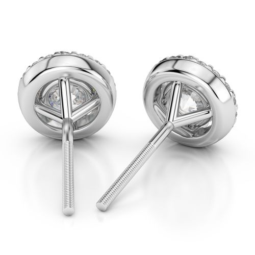 Halo Diamond Earrings in White Gold (1 1/2 ctw) | Image 02