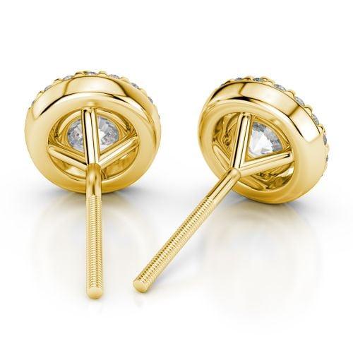 Halo Diamond Earrings in Yellow Gold (1 1/2 ctw) | Image 02