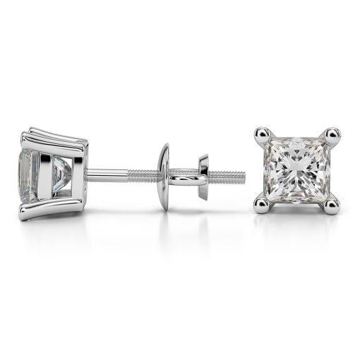 Princess Diamond Stud Earrings in Platinum (1 1/2 ctw) | Image 03