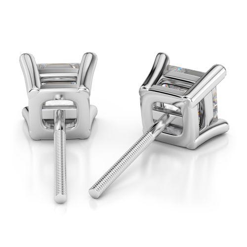 Princess Diamond Stud Earrings in Platinum (1/2 ctw)   Image 02