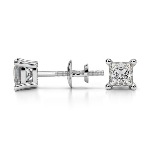 Princess Diamond Stud Earrings in Platinum (1/2 ctw) | Image 03