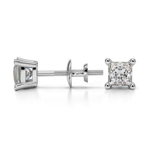 Princess Diamond Stud Earrings in Platinum (1/2 ctw)   Image 03