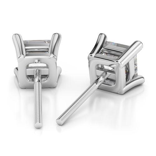 Princess Diamond Stud Earrings in Platinum (1 ctw) | Image 02
