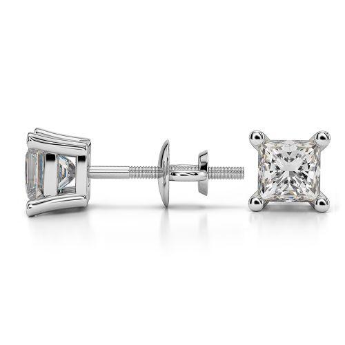 Princess Diamond Stud Earrings in Platinum (1 ctw) | Image 03