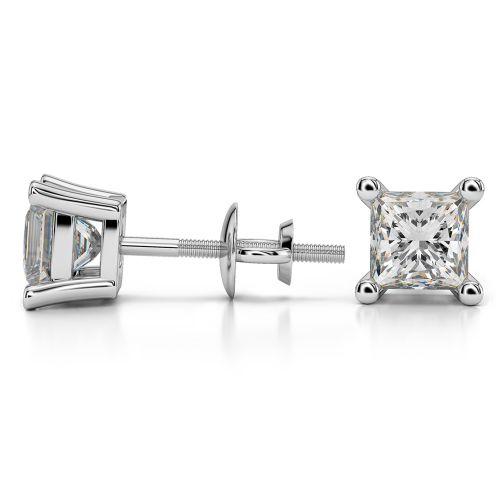 Princess Diamond Stud Earrings in Platinum (2 ctw) | Image 03