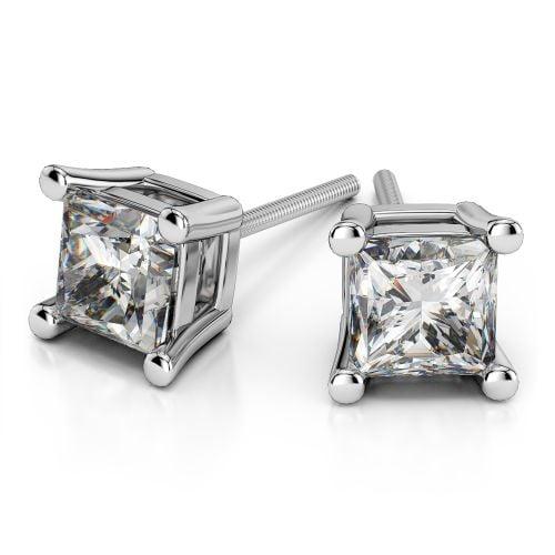 Princess Diamond Stud Earrings in Platinum (3 ctw) | Image 01