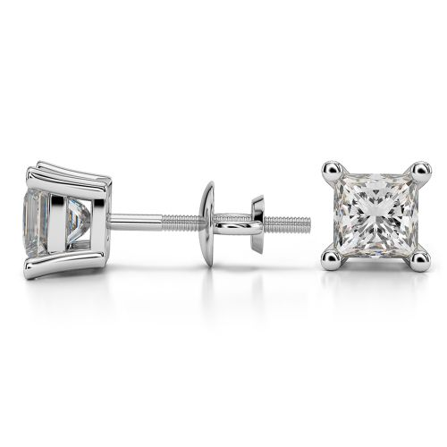 Princess Diamond Stud Earrings in White Gold (1 1/2 ctw) | Image 03