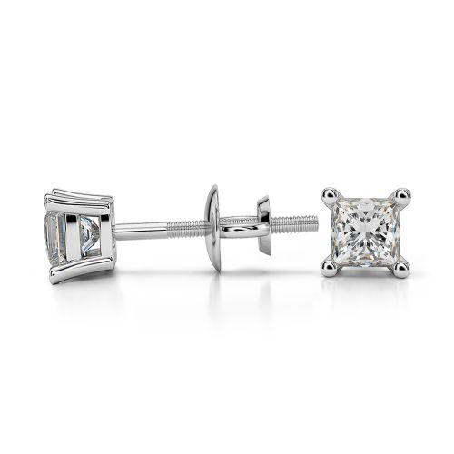 Princess Diamond Stud Earrings in White Gold (1/3 ctw) | Image 03