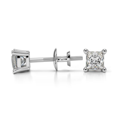 Princess Diamond Stud Earrings in White Gold (1/3 ctw) | Image 03