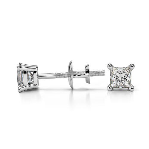 Princess Diamond Stud Earrings in White Gold (1/4 ctw) | Image 03