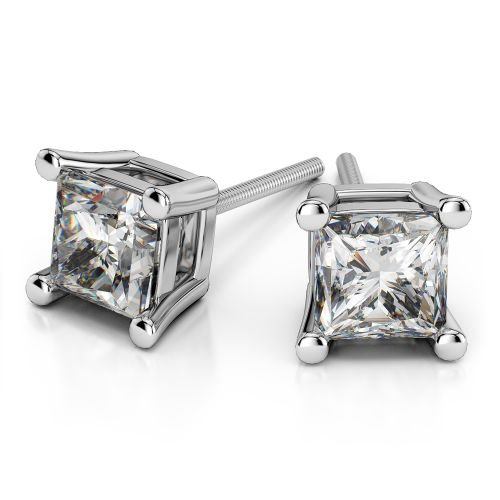 Princess Diamond Stud Earrings in White Gold (1 ctw) | Image 01