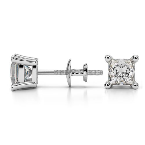 Princess Diamond Stud Earrings in White Gold (1 ctw) | Image 03