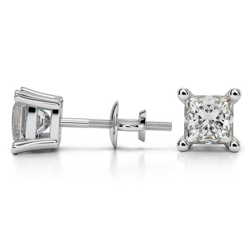 Princess Diamond Stud Earrings in White Gold (2 ctw) | Image 03