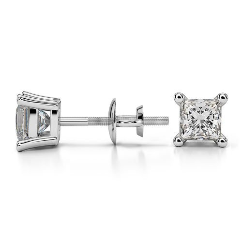 Princess Diamond Stud Earrings in White Gold (3/4 ctw) | Image 03