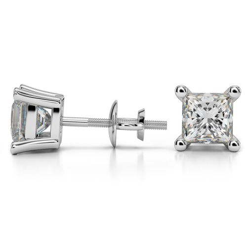 Princess Diamond Stud Earrings in White Gold (3 ctw) | Image 03