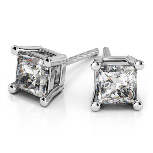 Princess Diamond Stud Earrings in White Gold (4 ctw) | Image 01