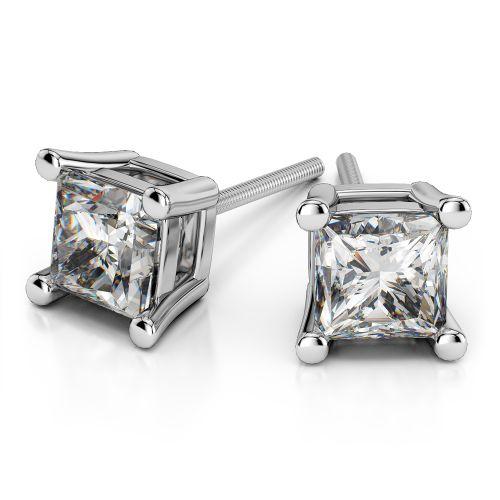 Princess Diamond Stud Earrings in White Gold (4 ctw) | Image 01