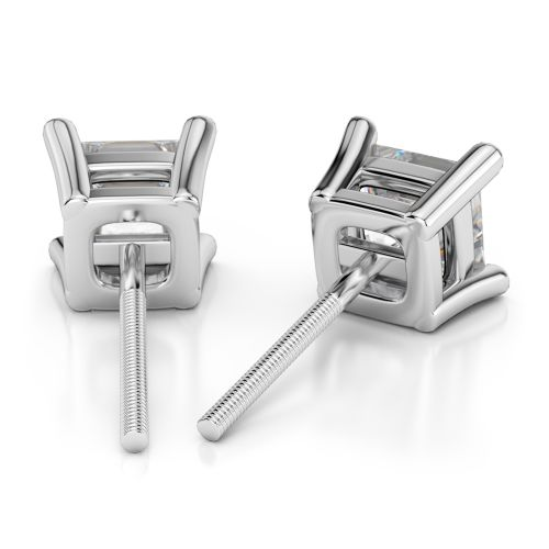 Princess Diamond Stud Earrings in White Gold (4 ctw) | Image 02