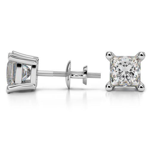 Princess Diamond Stud Earrings in White Gold (4 ctw) | Image 03