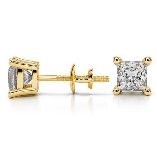 Princess Diamond Stud Earrings in Yellow Gold (1 1/2 ctw) | Image 03