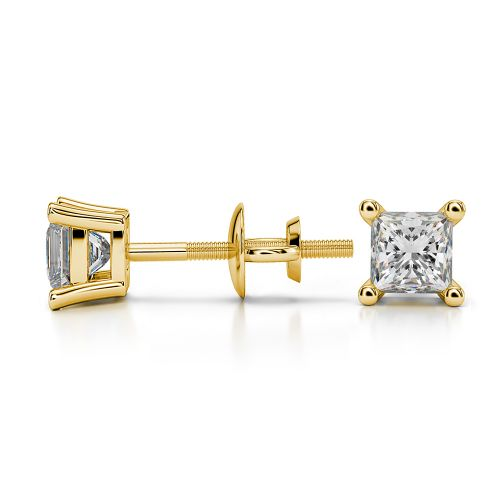 Princess Diamond Stud Earrings in Yellow Gold (1/2 ctw) | Image 03