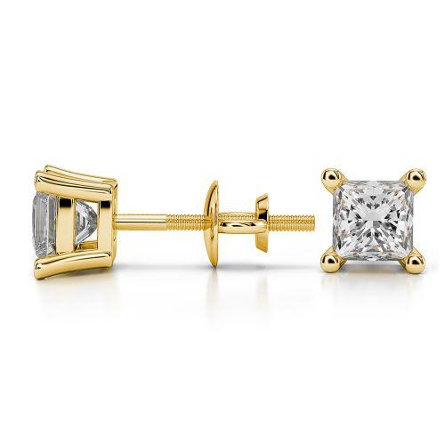 Princess Diamond Stud Earrings in Yellow Gold (1 ctw) | Image 03