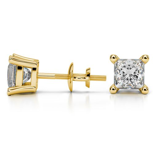 Princess Diamond Stud Earrings in Yellow Gold (2 ctw) | Image 03