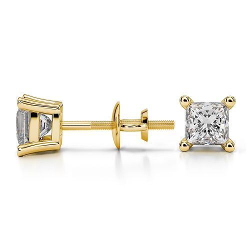 Princess Diamond Stud Earrings in Yellow Gold (3/4 ctw) | Image 03
