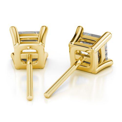 Princess Diamond Stud Earrings in Yellow Gold (4 ctw) | Image 02