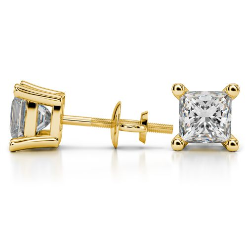Princess Diamond Stud Earrings in Yellow Gold (4 ctw) | Image 03
