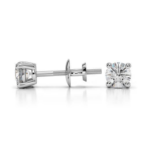 Round Diamond Stud Earrings in Platinum (1/3 ctw) | Image 03