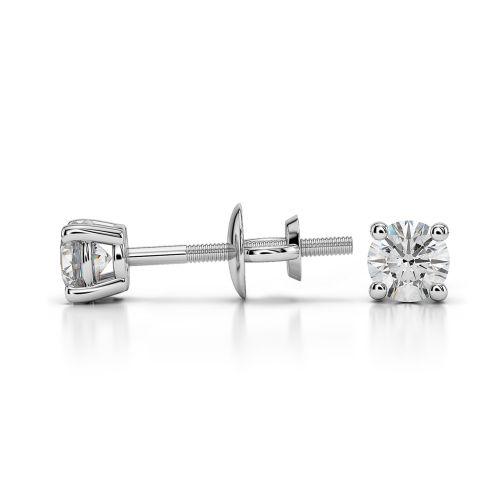 Round Diamond Stud Earrings in Platinum (1/4 ctw) | Image 03