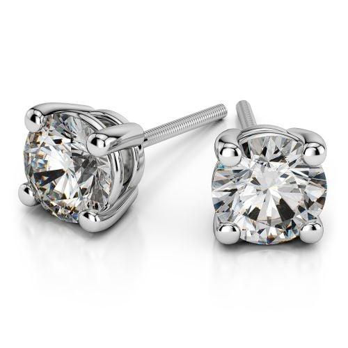 Round Diamond Stud Earrings in Platinum (2 ctw) | Image 01