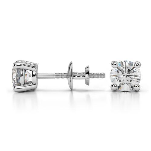 Round Diamond Stud Earrings in Platinum (3/4 ctw) | Image 03