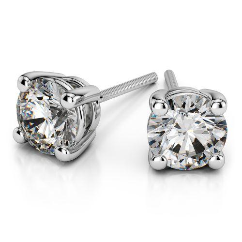 Round Diamond Stud Earrings in Platinum (3 ctw) | Image 01