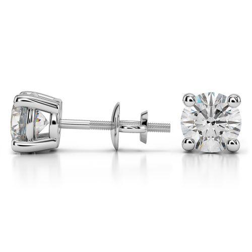 Round Diamond Stud Earrings in Platinum (3 ctw) | Image 03