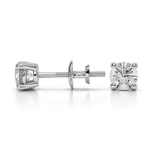 Round Diamond Stud Earrings in White Gold (1/2 ctw) | Image 03