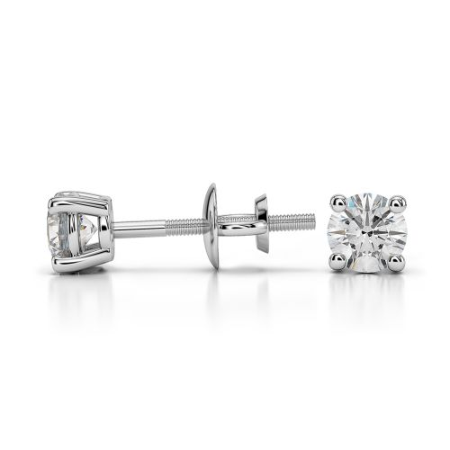 Round Diamond Stud Earrings in White Gold (1/3 ctw) | Image 03