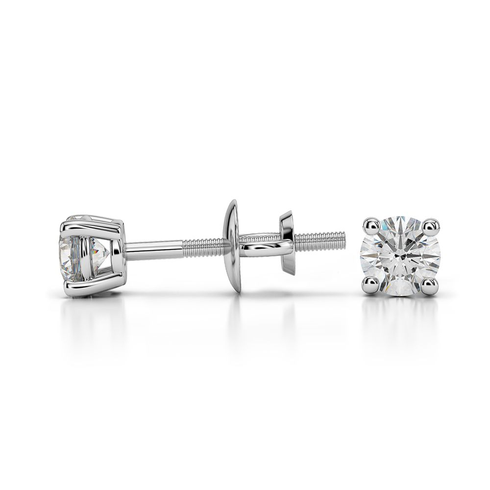 Round Diamond Stud Earrings in White Gold (1/4 ctw) | Image 03