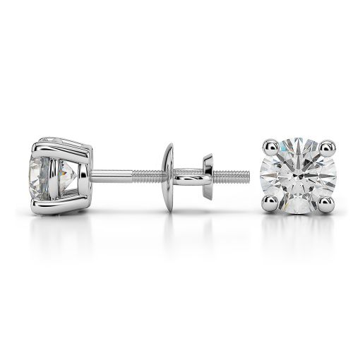 Round Diamond Stud Earrings in White Gold (1 ctw) | Image 03
