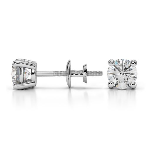 Round Diamond Stud Earrings in White Gold (3/4 ctw) | Image 03
