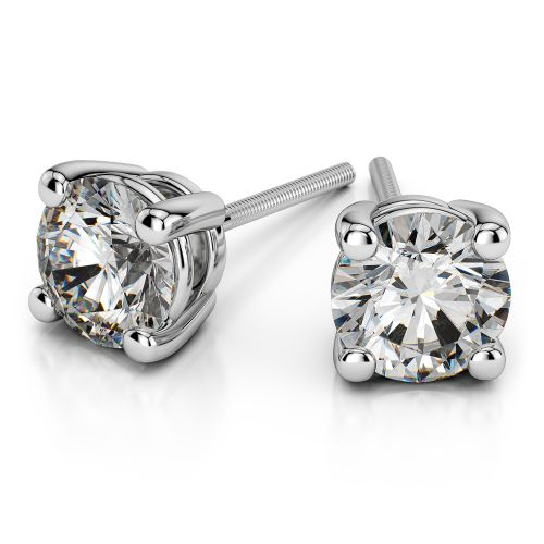 Round Diamond Stud Earrings in White Gold (4 ctw) | Image 01