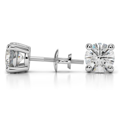 Round Diamond Stud Earrings in White Gold (4 ctw) | Image 03
