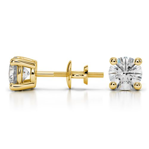 Round Diamond Stud Earrings in Yellow Gold (1 1/2 ctw) | Image 03