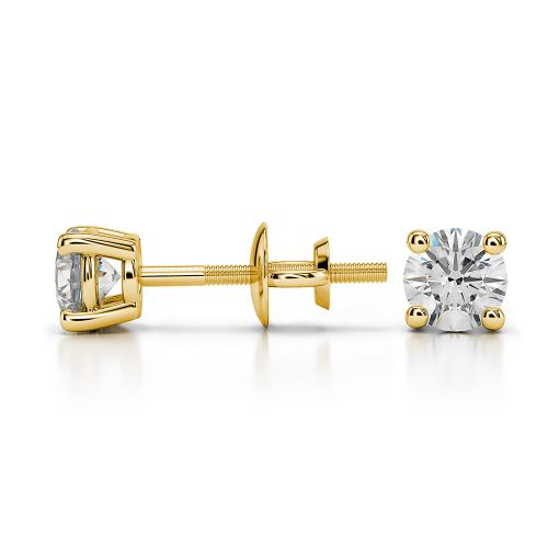 Round Diamond Stud Earrings in Yellow Gold (1/2 ctw) | Image 03