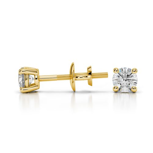 Round Diamond Stud Earrings in Yellow Gold (1/4 ctw) | Image 03
