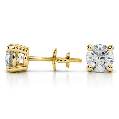 Round Diamond Stud Earrings in Yellow Gold (2 ctw) | Image 03