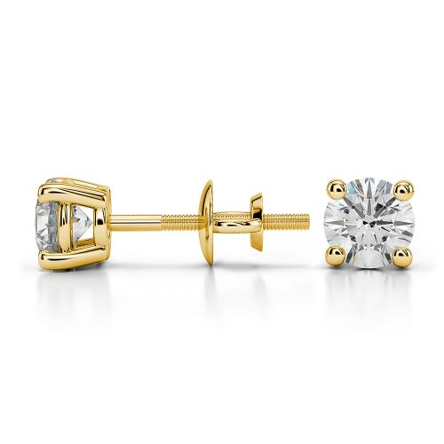 Round Diamond Stud Earrings in Yellow Gold (3/4 ctw) | Image 03